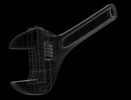 versatile: versatile multifunctional wrench as a wireframe model