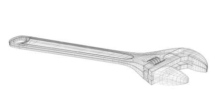 versatile: versatile multifunctional wrench as a wireframe model
