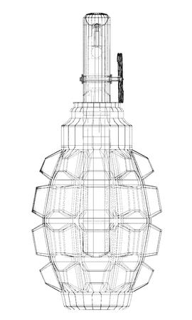 granade: granade on background, body structure , wire model