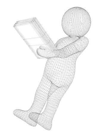 figure of a man with a folder in hand isolated on background Stock Photo
