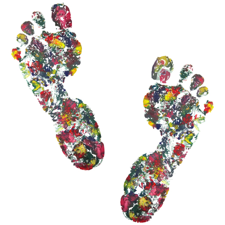 stepping: black footprint . Isolated on on white background, vector