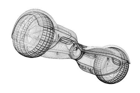 Gyroscooter 3D model, body structure , wire model