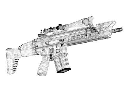 Automatic gun on background, body structure, wire model