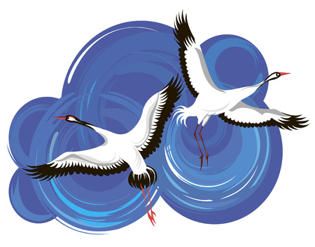 stork flying with bundle: stork Illustration