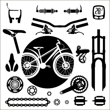 Bicycles. A set of bicycle parts. Vector.
