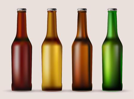 A set of glass beer bottles. Illustration