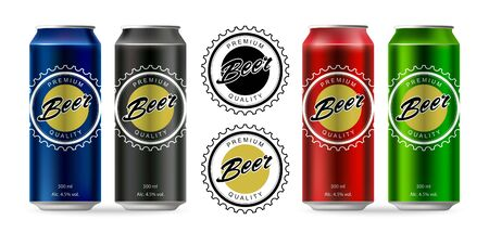 euphoria: Beer. Set of beer aluminum cans. Isolated vector objects. Illustration