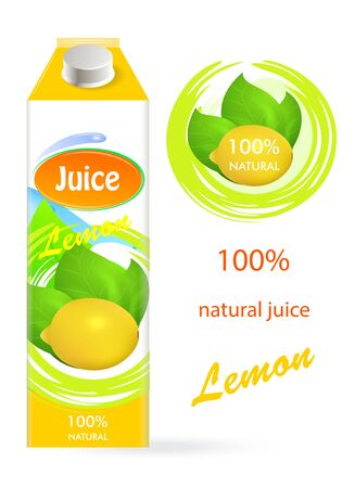 Lemon juice, tropical, fresh, natural. Packaging. Illustration