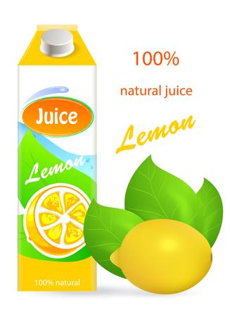 Lemon juice, tropical, fresh, natural. Packaging. Editable vector image.