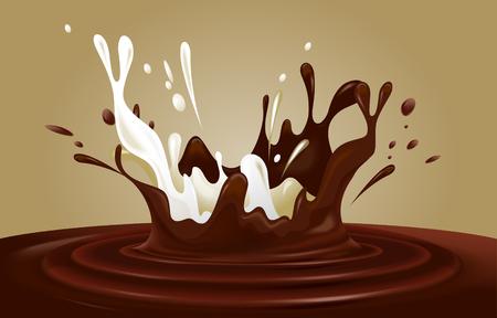 Chocolate and milk splash. Editable vector image.