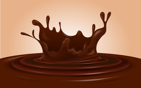 Chocolate splash. Editable vector image.