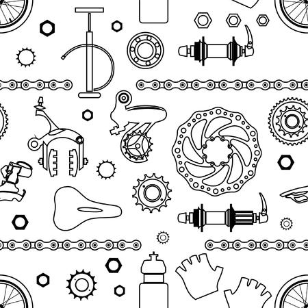 Modèle vectorielle continue avec des pièces de bicyclette, illustration vectorielle.