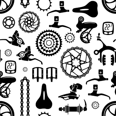 Bicycles. Seamless vector pattern with bicycle parts