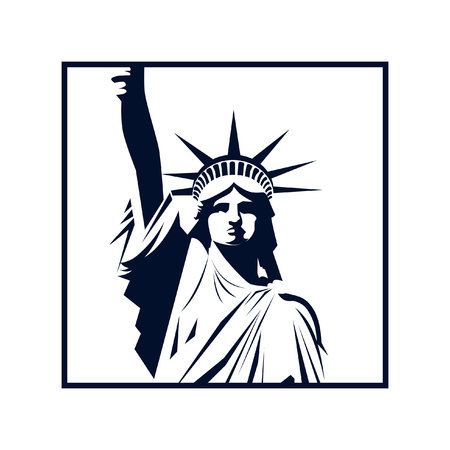 USA Statue of Liberty. Editable vector image.