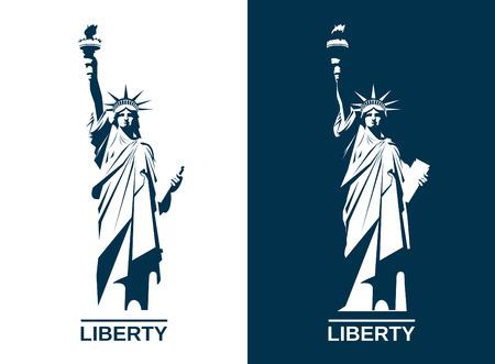 アメリカは自由の女神像。編集可能なベクトルのイメージ。