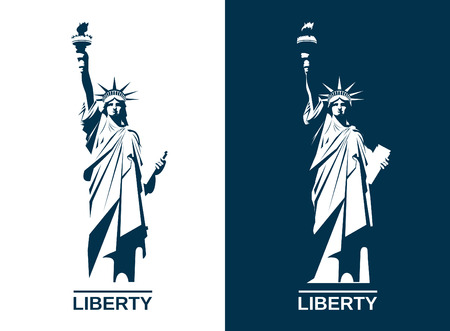 USA Statue of Liberty. Editable vector image.