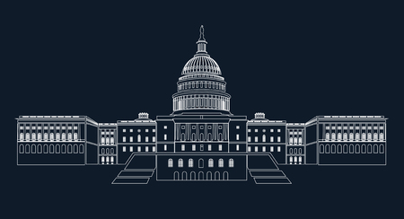 USA Capitol building. Editable vector image on a blue background. Vector illustration