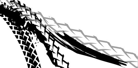 Tracks of bicycle and motorcycle tires vector illustration. Background element for poster, book illustration, advertisement, print, leaflet and booklet. Graphic image in white and black.