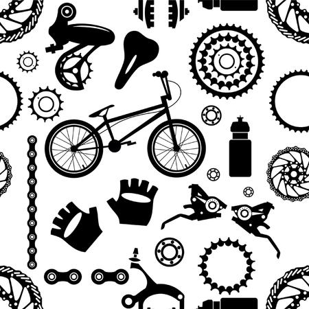 Bicyclette. Pièces pour vélos. Motif sans couture.