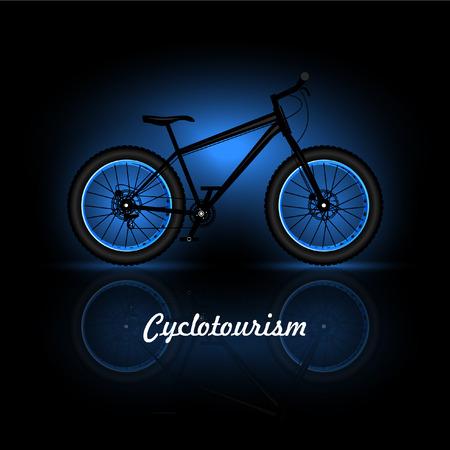 Cyclotourism on black background, vector illustration.