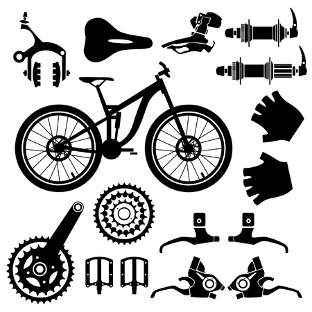Bicycle parts. Vector set.