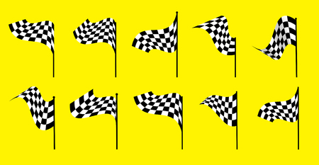 l first: Set of starting and finishing flags on a yellow background. Auto Moto racing competitions.