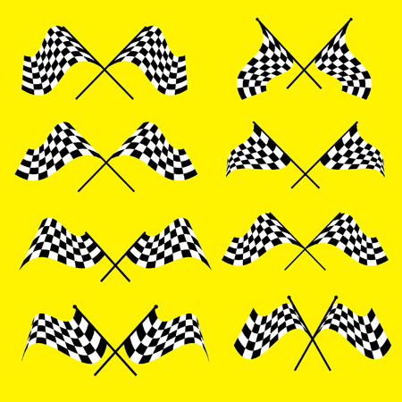 Set of starting and finishing flags on a yellow background. Auto Moto racing competitions.