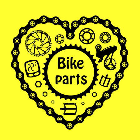 Bicycles. Set of bicycle parts.
