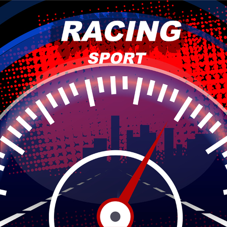 Racing sport. Speedometer of the car.