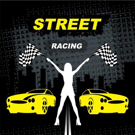 Street Racing. Sport girl with starting check check flag. Auto Motor Racing Ilustração