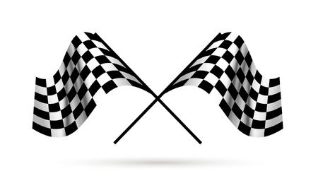 Avviare e finire le bandiere. Competizioni automobilistiche di Moto. Vettoriali