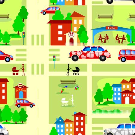 Muster. Stadtstraßen. Straße mit Autos und Straßen mit Häusern und grünem Gras Vektor-Design