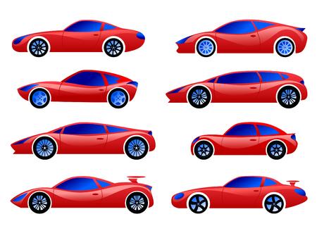 Passenger cars, racing, sports, red. Vector set.