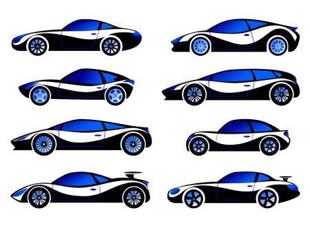 Passenger cars, racing, sports. Vector set.