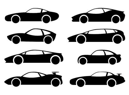 Passenger cars, racing, sports, black. Vector set. Ilustração