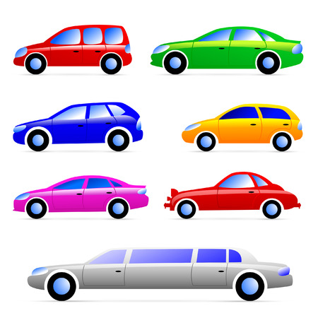 Cars. Set of vector silhouettes.