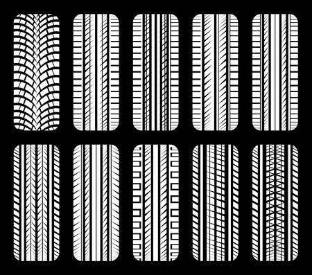 snow tire: Car wheels and tires. Vector set.