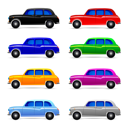 Passenger cars, racing, sports. Vector set.