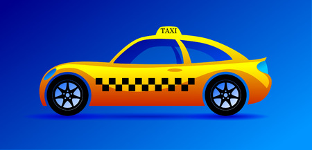 iron horse: City taxi. Yellow car on a blue background.