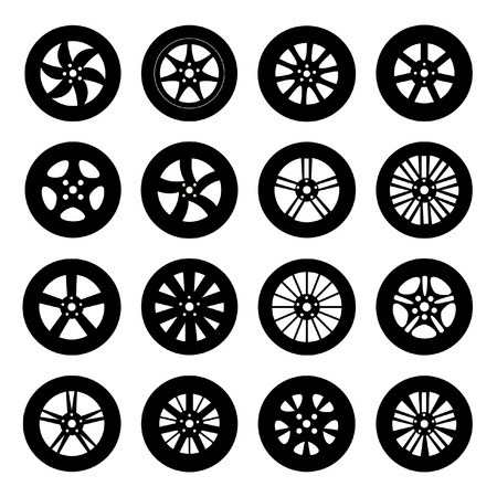 Car wheels, tires and titanium and alloy wheels. Vector set.
