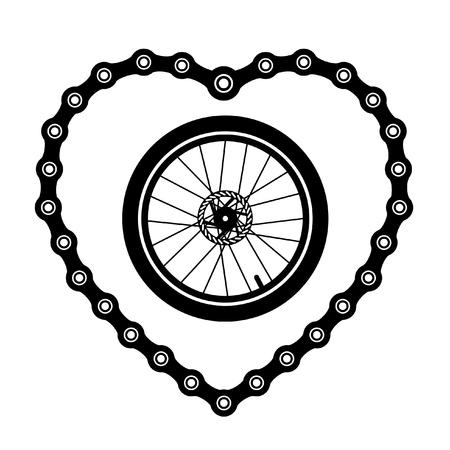 Chaîne de bicyclette en forme de coeur avec une roue de bicyclette.