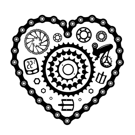 Bicycles. Set of bicycle parts. Pattern Iron heart.