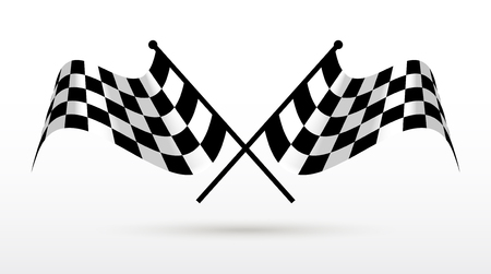 l first: Start and finish flags. Auto Moto racing competitions. Illustration