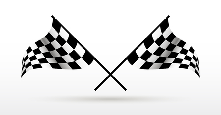 Start and finish flags. Auto Moto racing competitions. Illusztráció