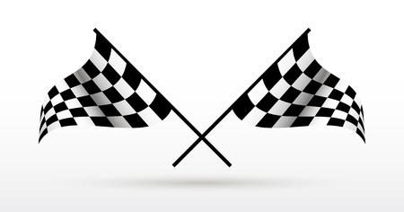 Start- und Zielflaggen. Auto Moto Rennwettbewerbe. Standard-Bild - 85397082