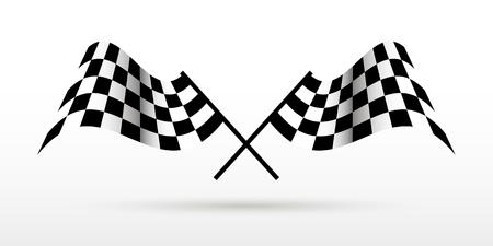 Flaggen starten und beenden Auto Moto Rennwettbewerbe. Standard-Bild - 85397086
