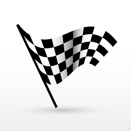 race winner: Start and finish flags. Auto Moto racing competitions. Illustration