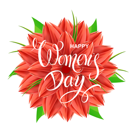 Happy Womens Day. Festive banner with spring red flowers. Vector card with lettering.