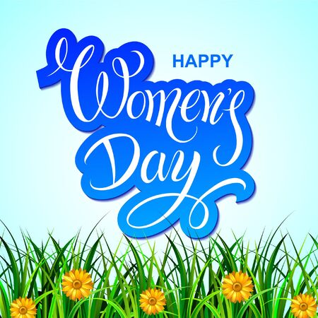 Happy Womens Day. Festive greetings poster spring flowers. Lettering. Vector design. Illustration