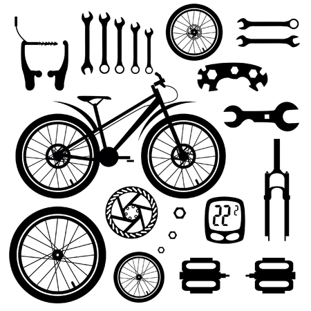 sports equipment: Bicycles. Set of bicycle parts